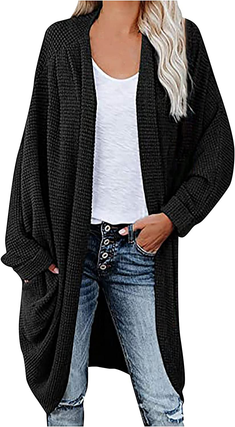 Women Casual Knitted Lightweight Cardigans Fashion Comfy Long Sleeve Oversized Open Front Plain Sweaters Fall Clothes