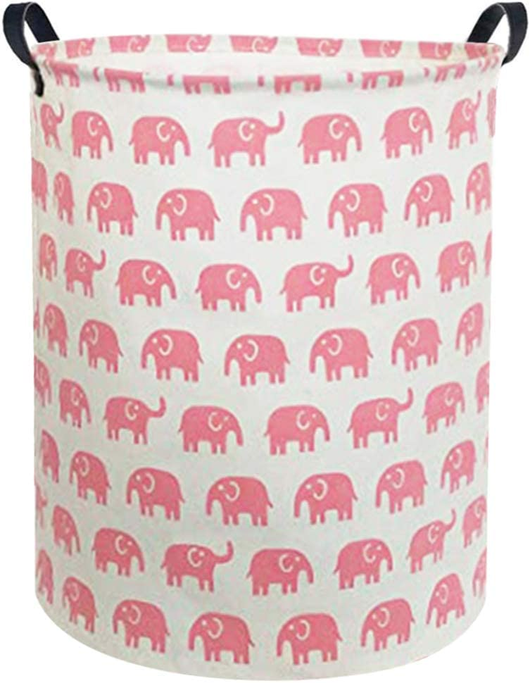 Sanjiaofen Large Sized Storage Baskets,Canvas Waterproof Storage Bin,Collapsible Organizer Baskets for Home,Office,Toy Bins,Laundry Hamper (Pink Elephant)