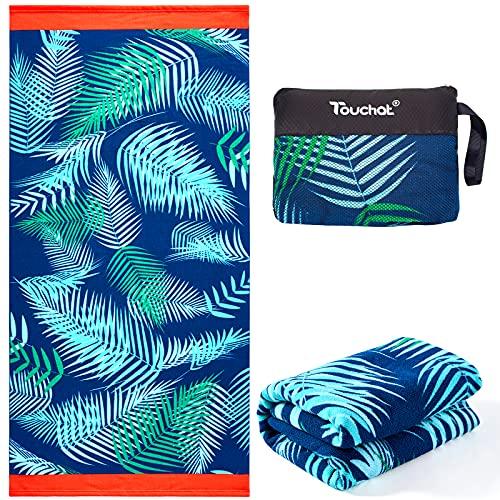 "Touchat Beach Towel Oversized,Super Absorbent Sand Free Thick Microfiber Beach Towel ,Cute Tropical Palm Leaf Beach Towels 30""x60"" for Kids,Men,Women,Girls,Boys"