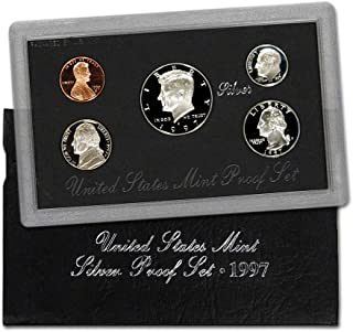 1997 S U.S. Silver Proof 5 Coin Set in Original Box with Certificate of Authenticity Proof