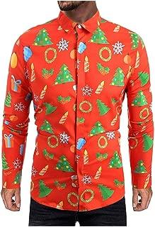 Men Casual Novelty Christmas Printed Casual Long Sleeves Button Down Shirt Tops