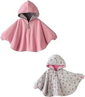 Infant Girls' Poncho Coat Double Side Wear Fleece Hoodie Outwear, Red, 1-3