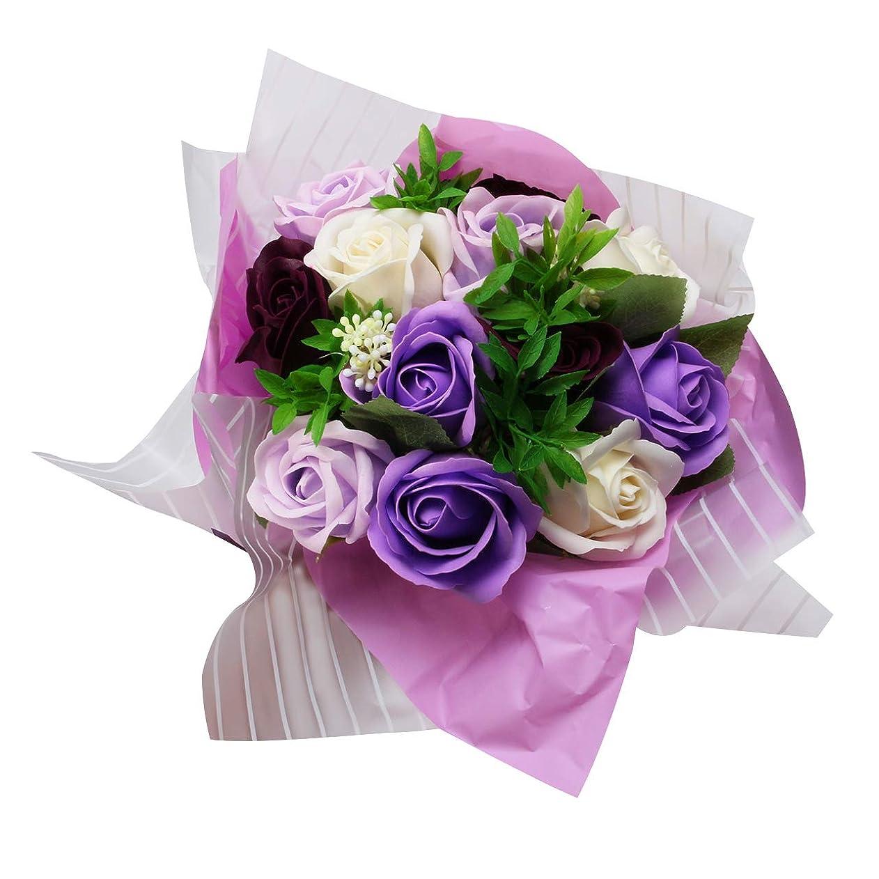一定ランダム鋭くソープフラワー バラ 花束 フラワー 造花 ギフト プレゼント 母の日 誕生日 女性 お見舞い 退職祝い 敬老の日 お祝い ミスティローズ ブーケ (パープル)