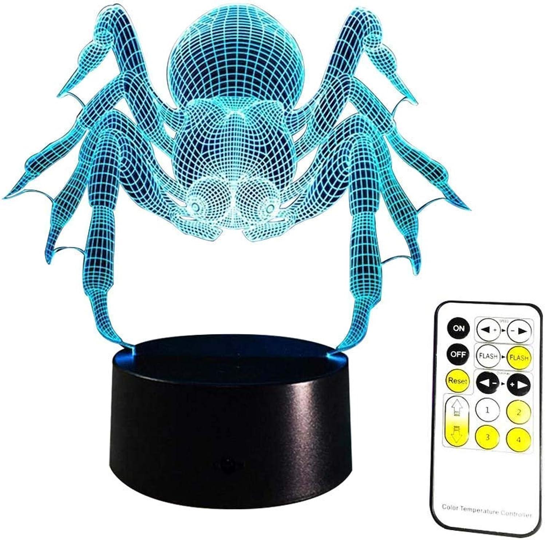 BMY 3D Nachtlicht Spinne optische Tuschung Tischlampe mit Fernbedienung 7 Farben ndern