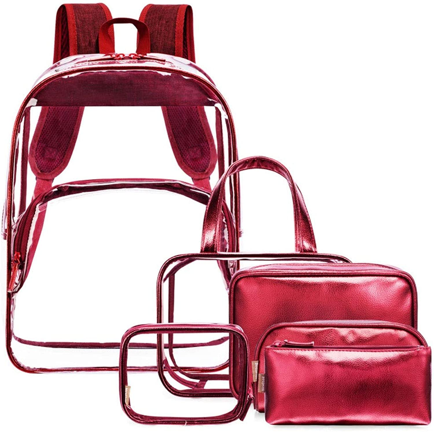 6Piece Transparent Backpack Female Fashion Personality Rucksack Makeup Bag Set PVC Travel Daypack (color   Red)