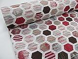 Confección Saymi Tela loneta Estampada 2,45 MTS Ref. Panal Rojo, Doble Ancho 2,80 MTS.