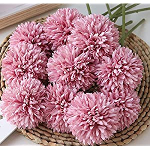 Kimura's Cabin Fake Flowers Artificial Silk Hydrangea Chrysanthemum Ball Flowers Bouquets 15Pcs for Home Dining Table Core Party Wedding Decoration (Dark Pink)