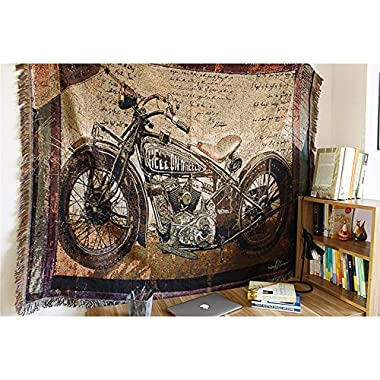 Cotton Motorcycle Decor Tapestry Pattern Woven Couch Throw Blanket, Indian Home Hippie Hanging wall decor, Beach Throw, Table Runner/Cloth(63 51 )(GT05-Motorcycle)