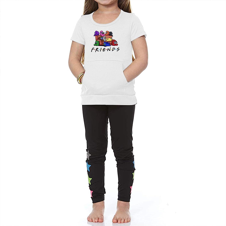 Queenromen Among Us Kangaroo Pocket Short Sleeve T-Shirt Kids Game Tees Boys Girls Tops