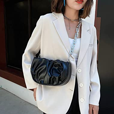 HAOXIU Bolso de mano plisado para mujer, estilo retro, casual, plisado, cadena semicircular de poliuretano, hombros y axilas,