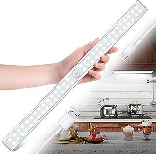 Lampe de Placard 60 LEDs Rechargeable,1000mAh Batterie Lumière d'Armoire Eclairage Placard,lampe placard sans fil à détect...
