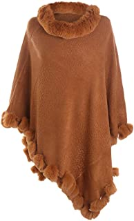 Women's Faux Cashmere Scarf Poncho Sweater V Neck Pullover Shawls Wraps Capes with Fringes Pullover Cape Gifts for Mom