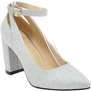 [山本道] ブライダルシューズ 花嫁 ウェディングシューズ アンクルストラップ パンプス 歩きやすい 太ヒール パンプス ポインテッド パンプス キラキラ スパンコール 結婚式 大きいサイズ 靴 ヒール約8.5cm 通勤 婦人靴