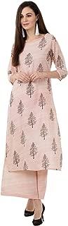 Bright Cotton Rayon Straight Kurta Palazzo Set (Pink)