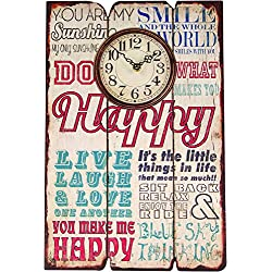 Manual Weavers Clock - Wall - Happiness - Printed Wood (11.75 x 17.5)