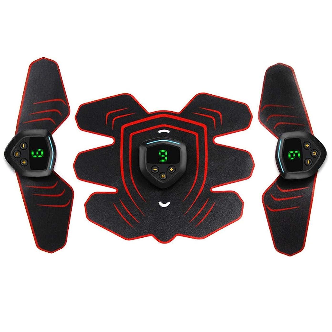 接続中で休眠筋肉刺激装置、EMS腹筋トレーナー腹部ベルトUSB充電式筋肉用トナー腹筋腕用脚腹筋サポートベルト (Size : 3 host 1 set of stickers)