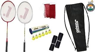 Jaspo GT 303 Pro Red/Sliver Badminton Set(2 Badminton Racket and 6 Nylon Shuttle Cork,1 Carry Bag,1 Grip,1 Badminton net)