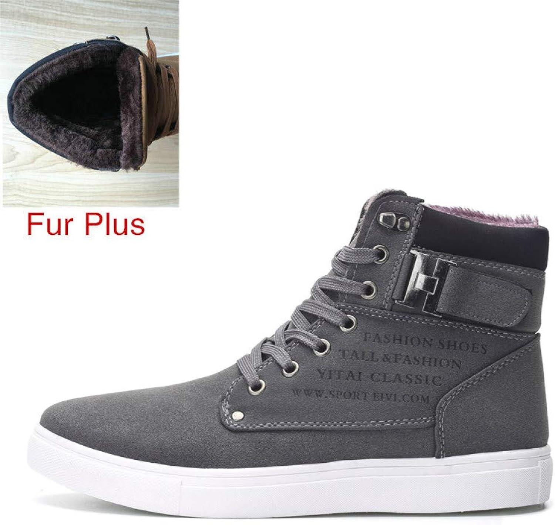 FHCGMX Men shoes Fashion Warm Winter Men Boots Autumn Leather Footwear For Man Top Canvas Casual shoes Men