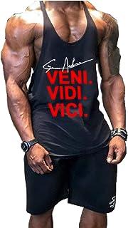 Camiseta interior de tirantes para hombre, material elástico, de algodón, para el gimnasio y de estilo atlético