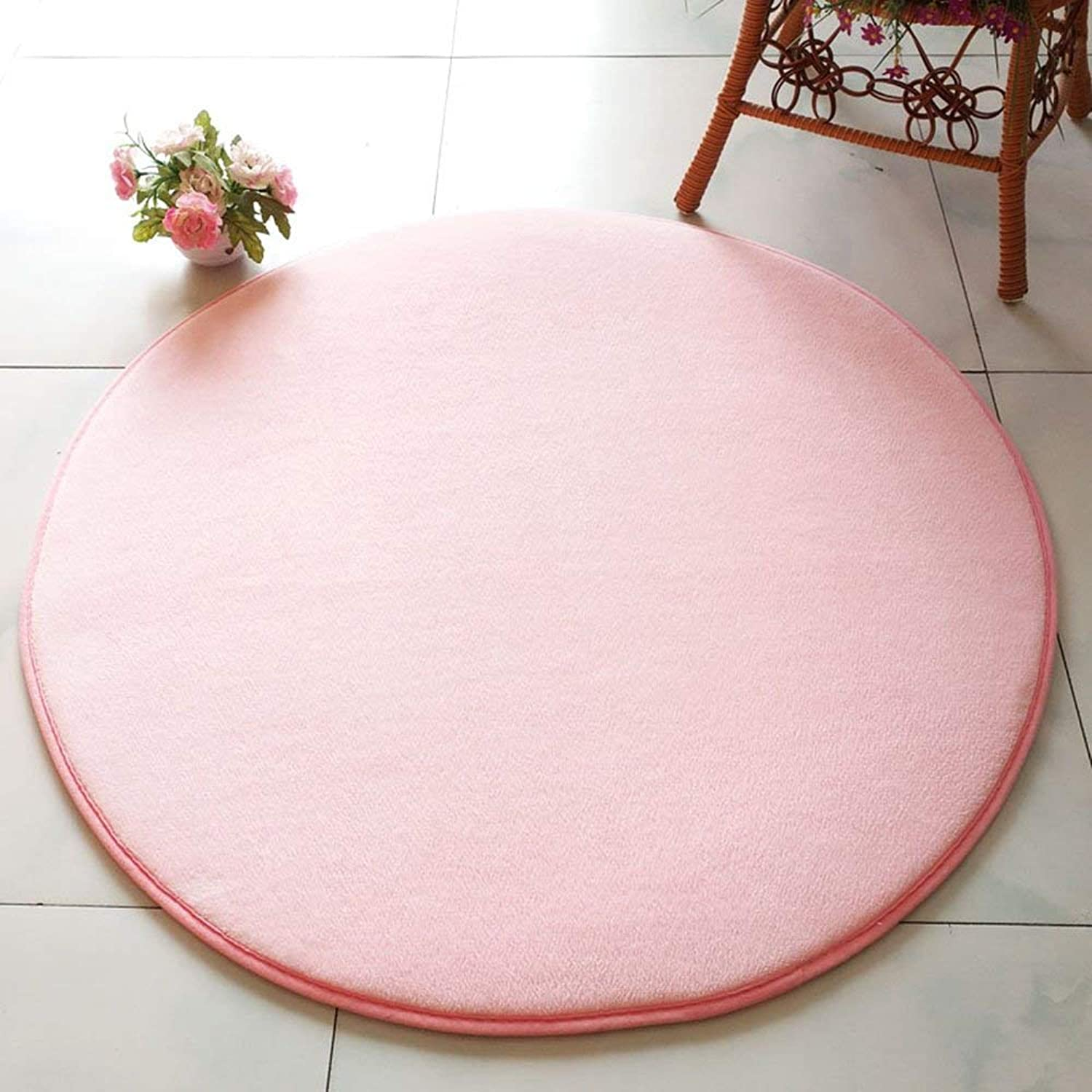 Royare Home Decorations mat Round Solid color Non-Slip Hanging Chair Pad Bedroom Tea Table Pad (color   Pink, Size   100cm)