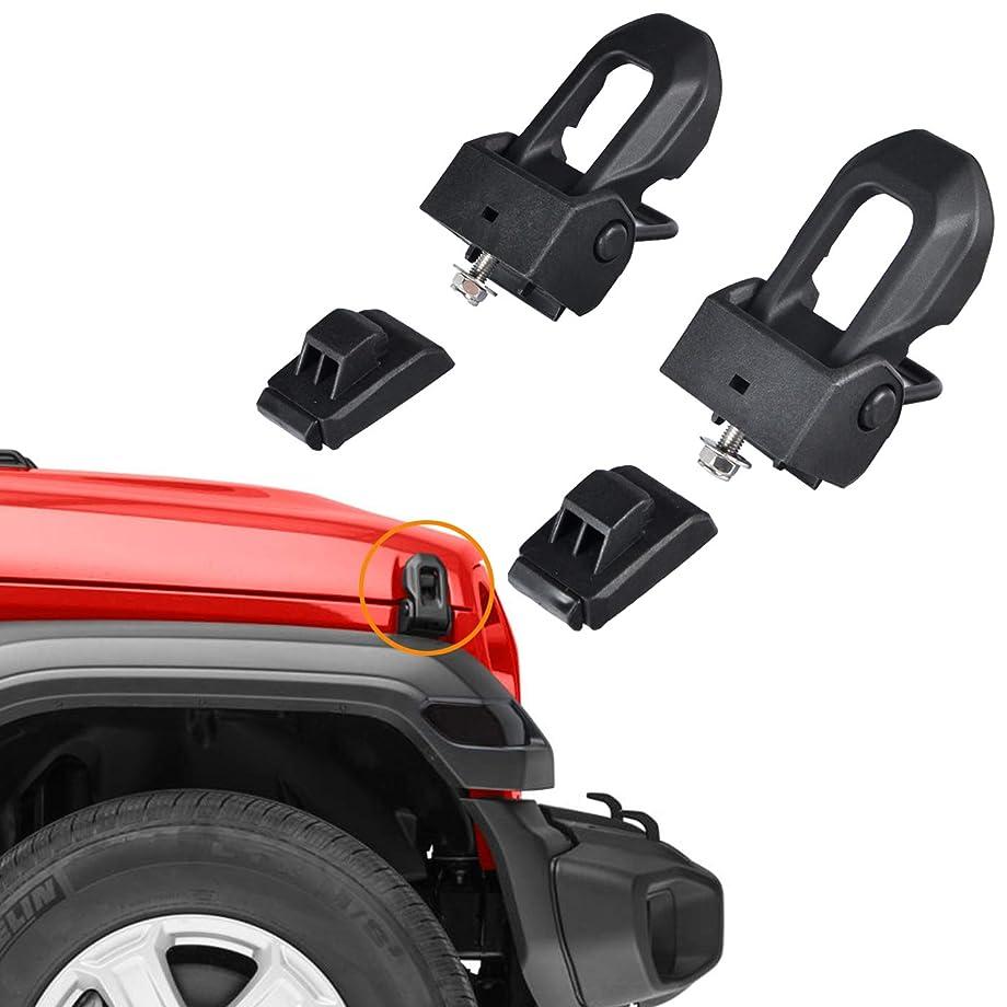omotor 2018 2019 Jeep Wrangler JL OEM Original Stainless Steel Latch Locking Hood Catch Kit for Jeep Wrangler JL 2018 2019