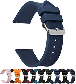 Fullmosa Silicone Rubber 24mm Watch Strap,8 colors for Rainbow Quick Release Watch Band 18mm 20mm 22mm 24mm,Dark Blue