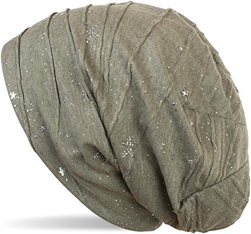 styleBREAKER Beanie Mütze mit Metallic Splashes Sterne und Pailletten, Slouch Longbeanie, Unisex 04024136, Farbe:Oliv