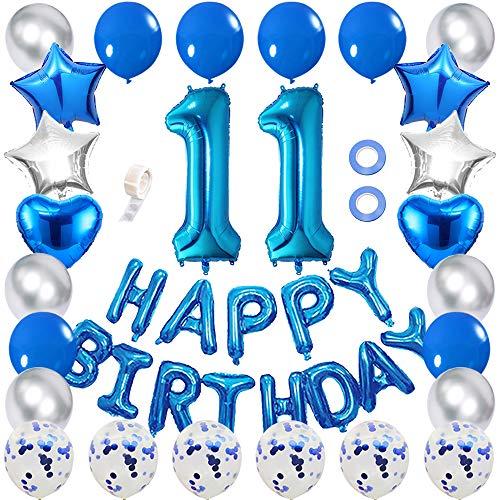 Ceqiny Juego de globos para decoración cumpleaños 11 con forma de globo con números azules 11 globos de confeti azul globos látex con forma estrella y corazón suministros para fiestas niñas y niños