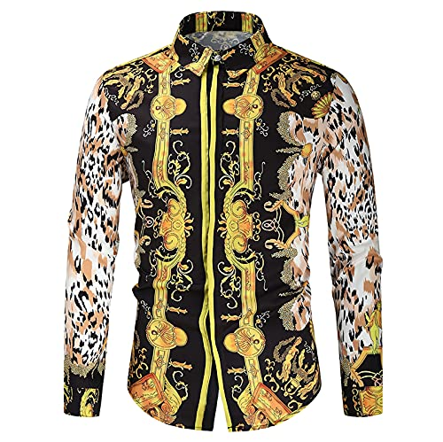 Long Sleeve Tee Shirts For Men Fall & Spring Lapel Design Print Shirt Casual Button Up Slim Fit Luxury Graphics Tops Yellow