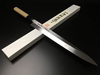 有次 包丁 ARITSUGU 純日本鋼 本焼 柳刃 300mm 青鋼2 築地 柄 鞘付 名入れ