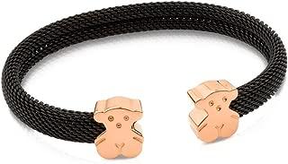 Steel and Rose Vermeil Bear Mesh Cuff Bracelet