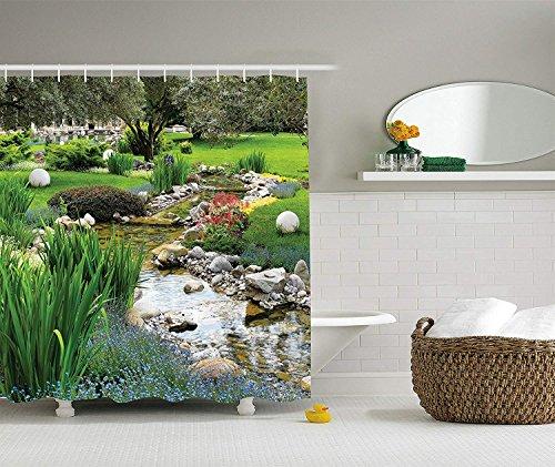 Soefipok Country Home Decor Collection, Garten mit Teich im asiatischen Stil Fließender Bach Wild Flowers Bushes Stones Landscape, Duschvorhang aus Polyestergewebe, Olivgrün
