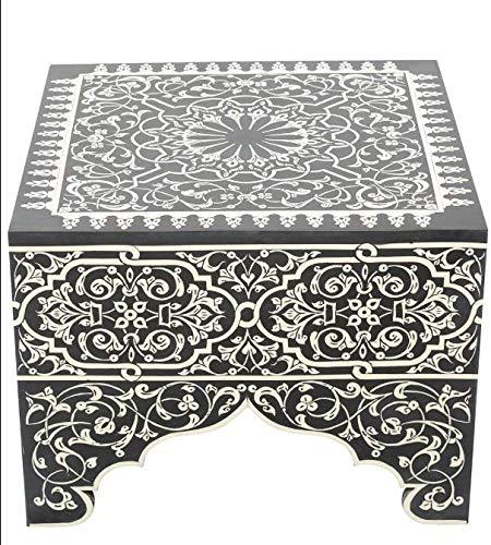 ABYAD Mesa auxiliar de resina blanca y negra – Cuadrada – Altura 45 cm x Ancho 60 cm