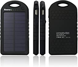 Nexcon Solar Charger 5000mAh Rain-resistant Dirt/Shockproof Dual USB Port Portable Charger Backup Power Pack for iPhone 6 plus 5S 5C 5 Samsung Galaxy S6 S5 S4 S3 Note 4 3, All USB Devices, Black