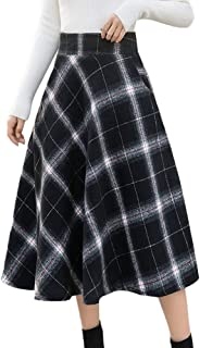 Vibola Womens High Elastic Waist Maxi Skirt A-line Plaid Winter Warm Flare Long Skirt
