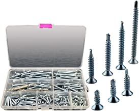 NUZAMAS Box of 160 Steel Self Drilling Screw Tek Phillips Countersunk Head 13mm 16mm 19mm 25mm 32mm 38mm 45mm 50mm 2 Free ...