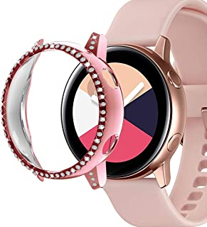 Ayigo Compatible with Samsung Galaxy Watch Active Case 40mm,PC Rhinestone Gold Plated Bumper Cover Bling Diamond Crystal Glitter Diamond Shiny Frame for Women Girls (Pink)