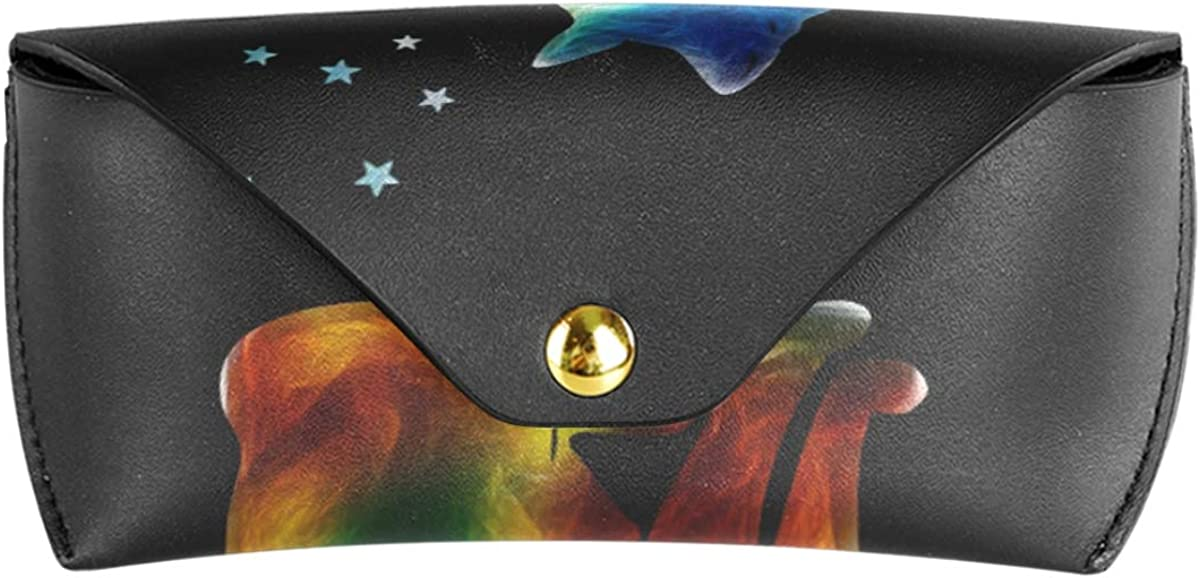 Mysterious Space Colorful Cat Star Holder Multiuse PU Leather Sunglasses Case Eyeglasses Pouch Portable Goggles Bag