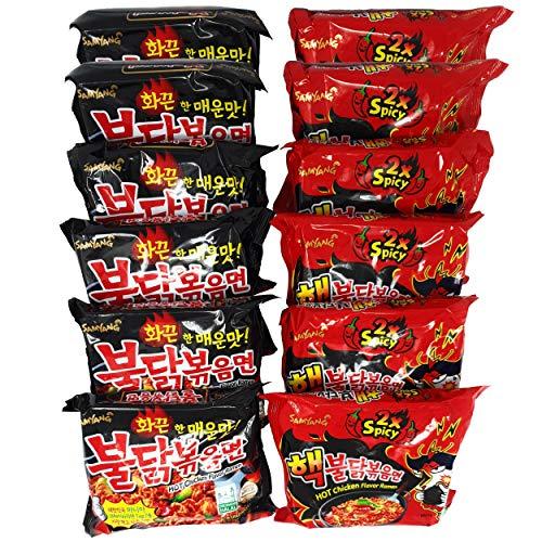 Korean Fire Noodle Set - Samyang Ramen Nudeln | Hot Chicken Flavour Ramen 6x140g (Rot Extreme) & 6x140g (Schwarz Original) | Vorteilspack (12 Portionen)