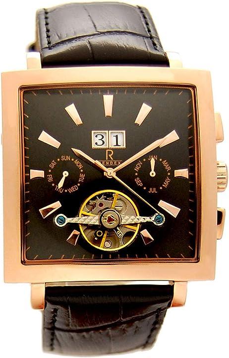 Rendex - orologio da uomo con display a vista automatico, cinturino in vera pelle 11418