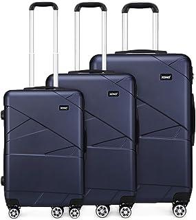 Kono Set de 3 Valises Voyage Trolley Rigide en PC avec 4 roulettes Ensembles de Valise 57//65//75cm