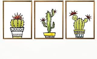 Watercolor Succulent Cactus Print, Photography Poster, Succulent Art Gift, Beautiful Botanical Print, Living Room Wall Decor, Tropical Green Nature Print - Set of 3-8x10 - Unframed