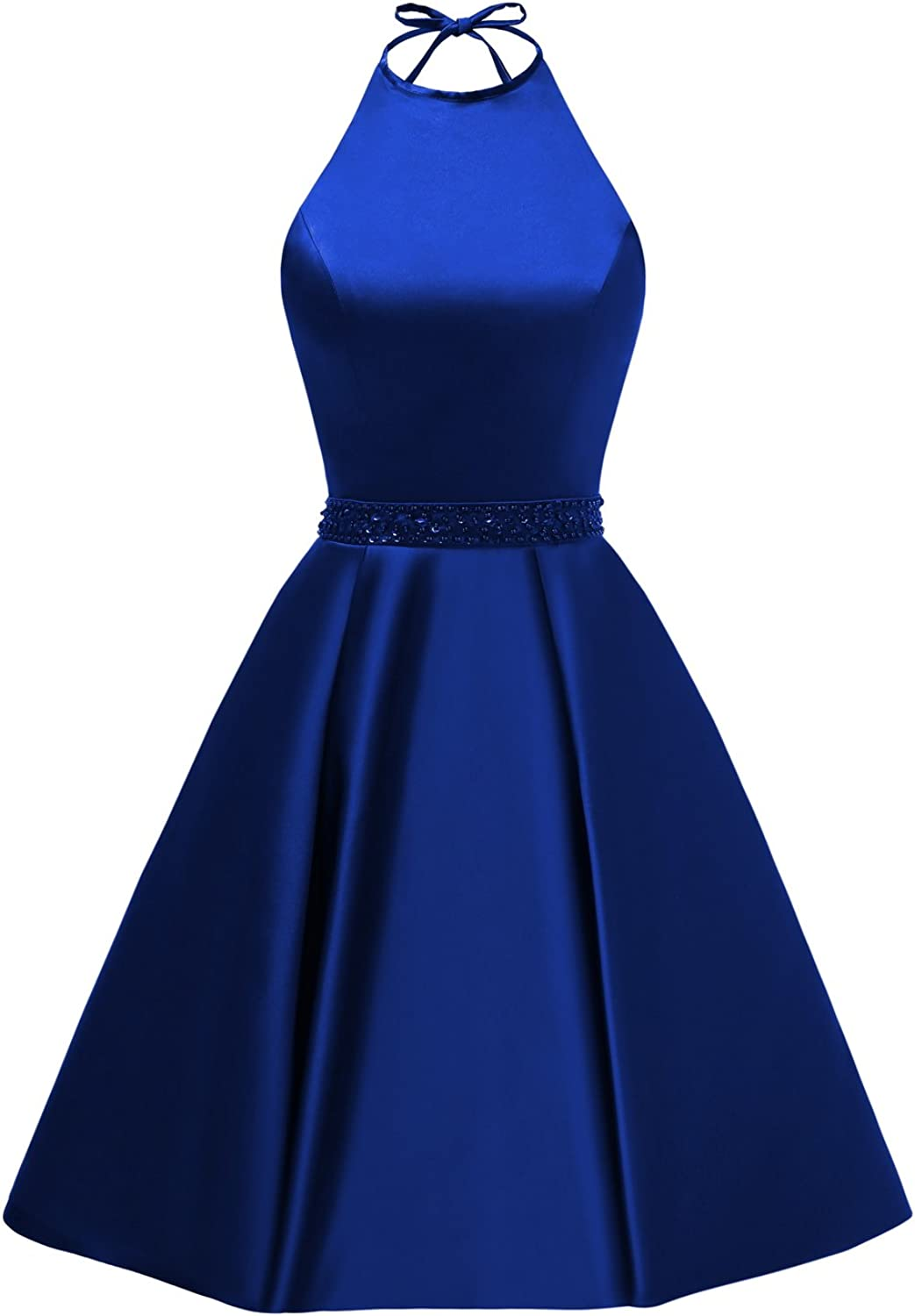 Women's Halter A-line Beaded Satin Homecoming Dress Short Evening Party Gown with Pockets