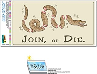 Join or Die - Benjamin Franklin Snake Political American Revolution Patriots SLAP-STICKZ(TM) Automotive Car Window Locker Bumper Sticker