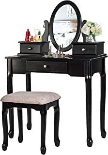 Merax Vanity Set with Flip Top Mirror Makeup Dressing Table & Cushioned Stool - 2 PC Contemporary Mirrored Make Up Desk with Bench & Removable Drawers (Black)