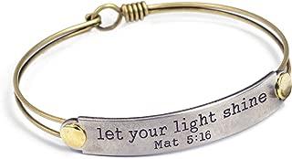 Engraved Bible Verse Inspirational Faith Religious Bar Bangle Bracelets, 12 Messages Available