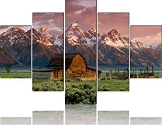 Grand Tetons Canvas House Decorations Living Room 5 Piece/Set Canvas Wall Art,Wyoming,USA Pictures Painting Modern Home Decor Giclee Framed Stretched Ready to Hang Posters and Prints(60''Wx40''H)
