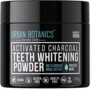 UrbanBotanics® Activated Charcoal Teeth Whitening Powder - Enamel Safe Teeth Whitener - Suitable for Sensitive teeth - 100g (Mint Flavor)