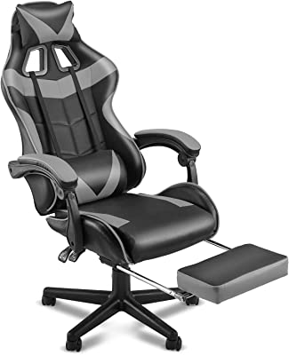 SOONTRANS Ergonomic Gaming Chair,Office Computer Game Chair,E-Sports Chair,Gaming Chair,Racing Style with Adjustable Recliner Headrest Lumbar Pillow and Retractable Footrest(Galaxy Grey)