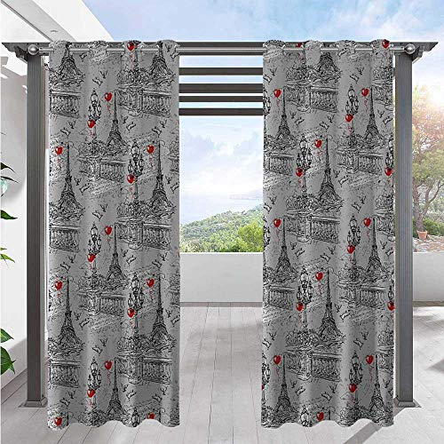 Outdoor Patio Curtains River Seine Lanterns and Doves on Vintage Style Drawing Style Artistic Backdrop Outdoor DéCor Patio Curtains Durable, Water-Resistant, Opaque Red Black Grey W72 x L84 Inch